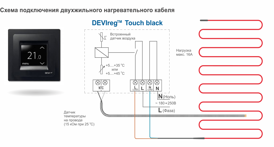 Схема подключения двухжильного нагревательного кабеля DEVIflex